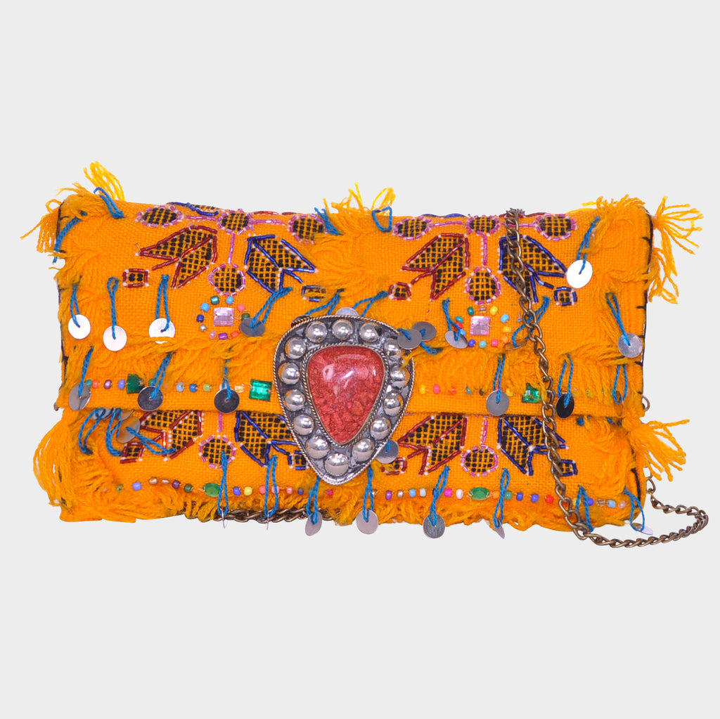Amazir Safron Gypsy<br>Tribal Crossbody Clutch