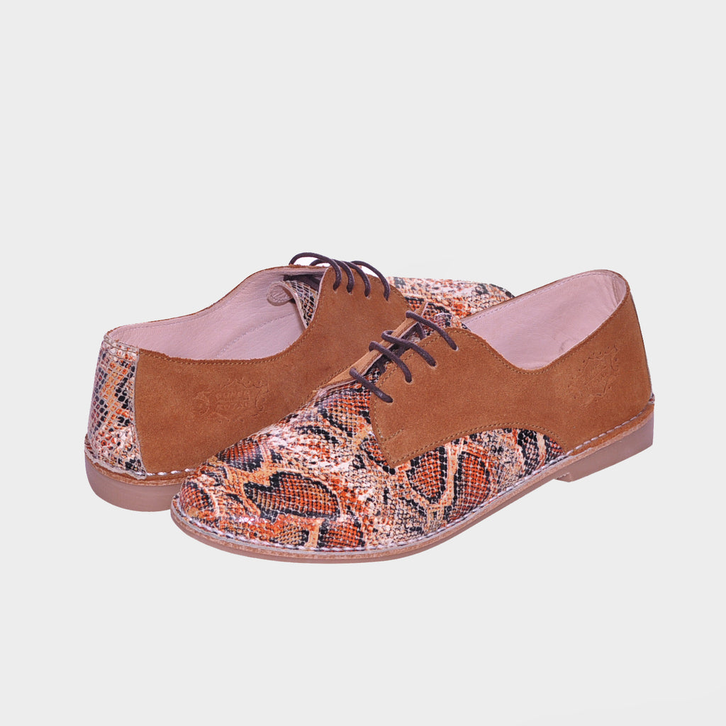 Brown Snake Printed Leather Laced Oxfords