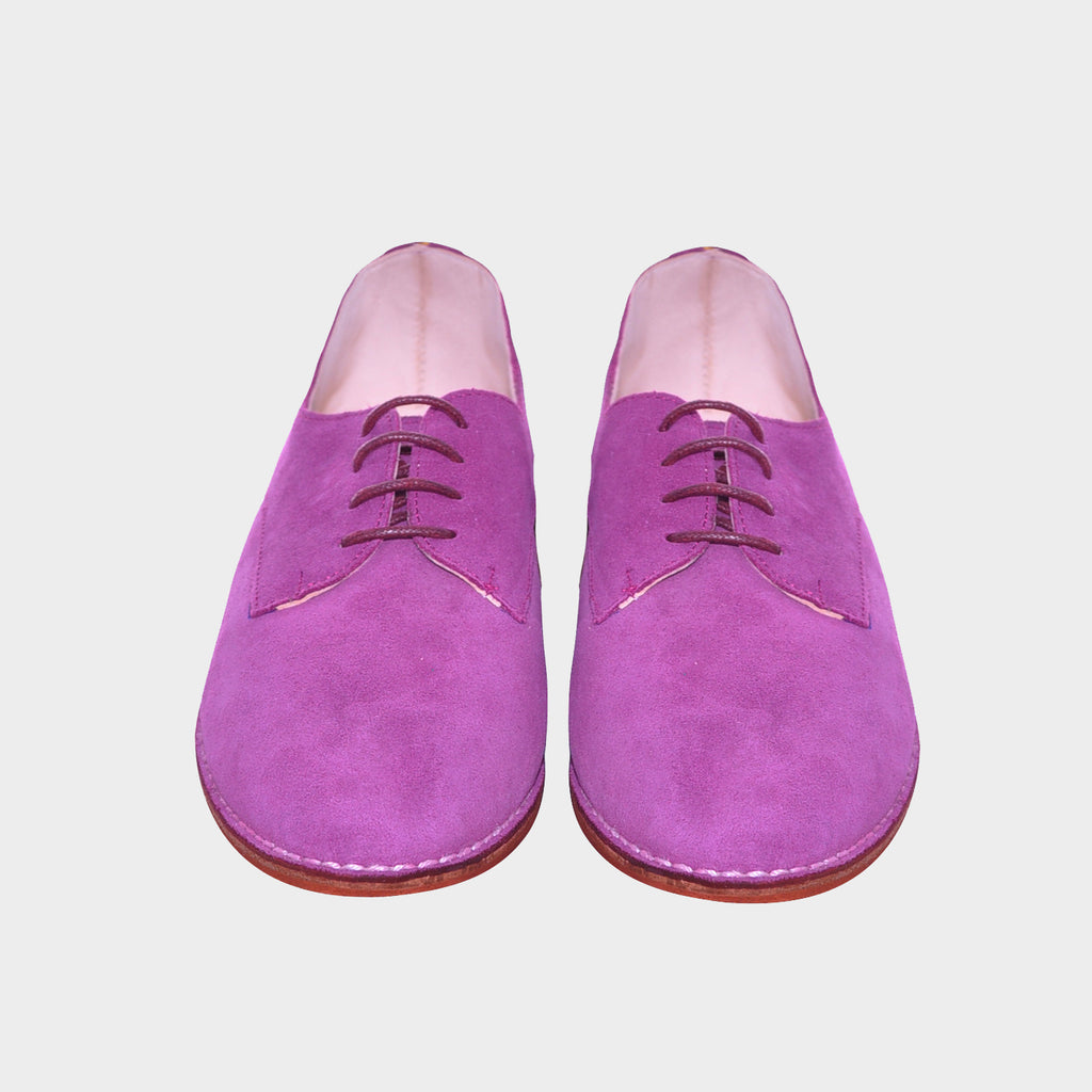Baby Violet Leather Laced Flats