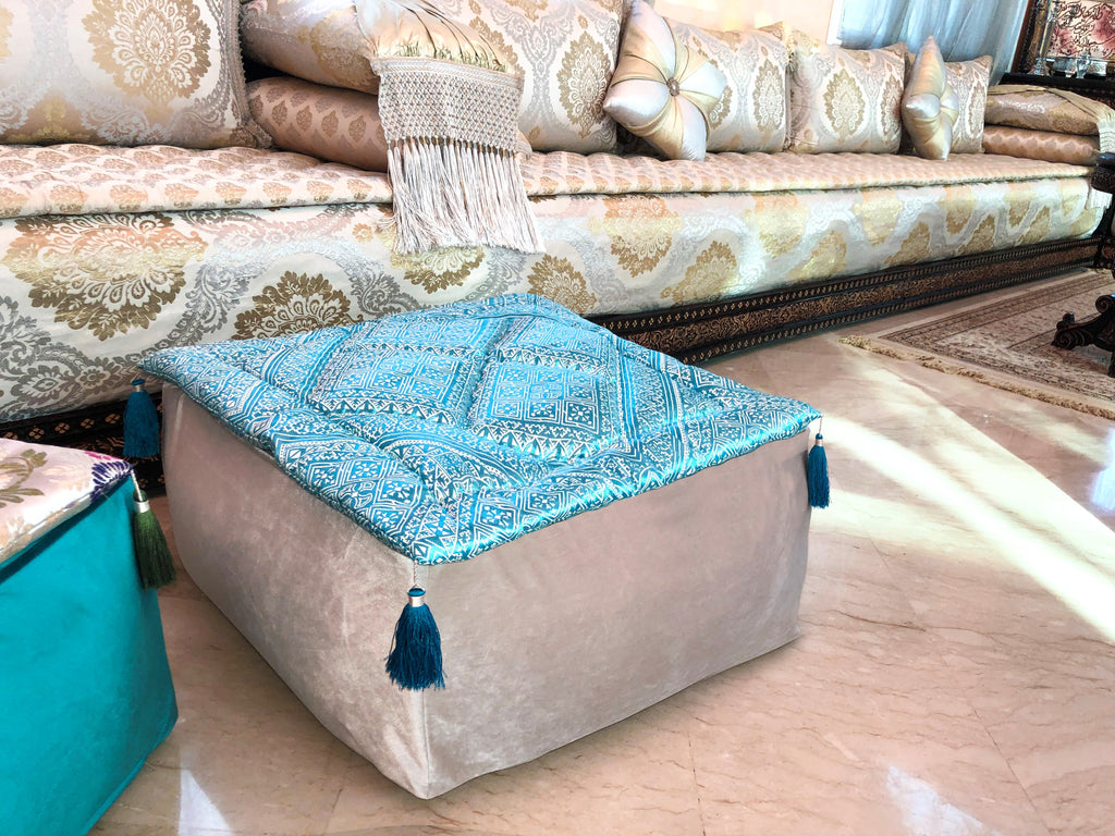 Alhambra Fesia Winter Fresh Large Velvet Moroccan Pouf Set