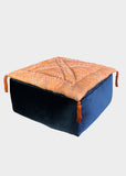 Alhambra Fesia Azure-Orange Large Velvet Moroccan Pouf Set