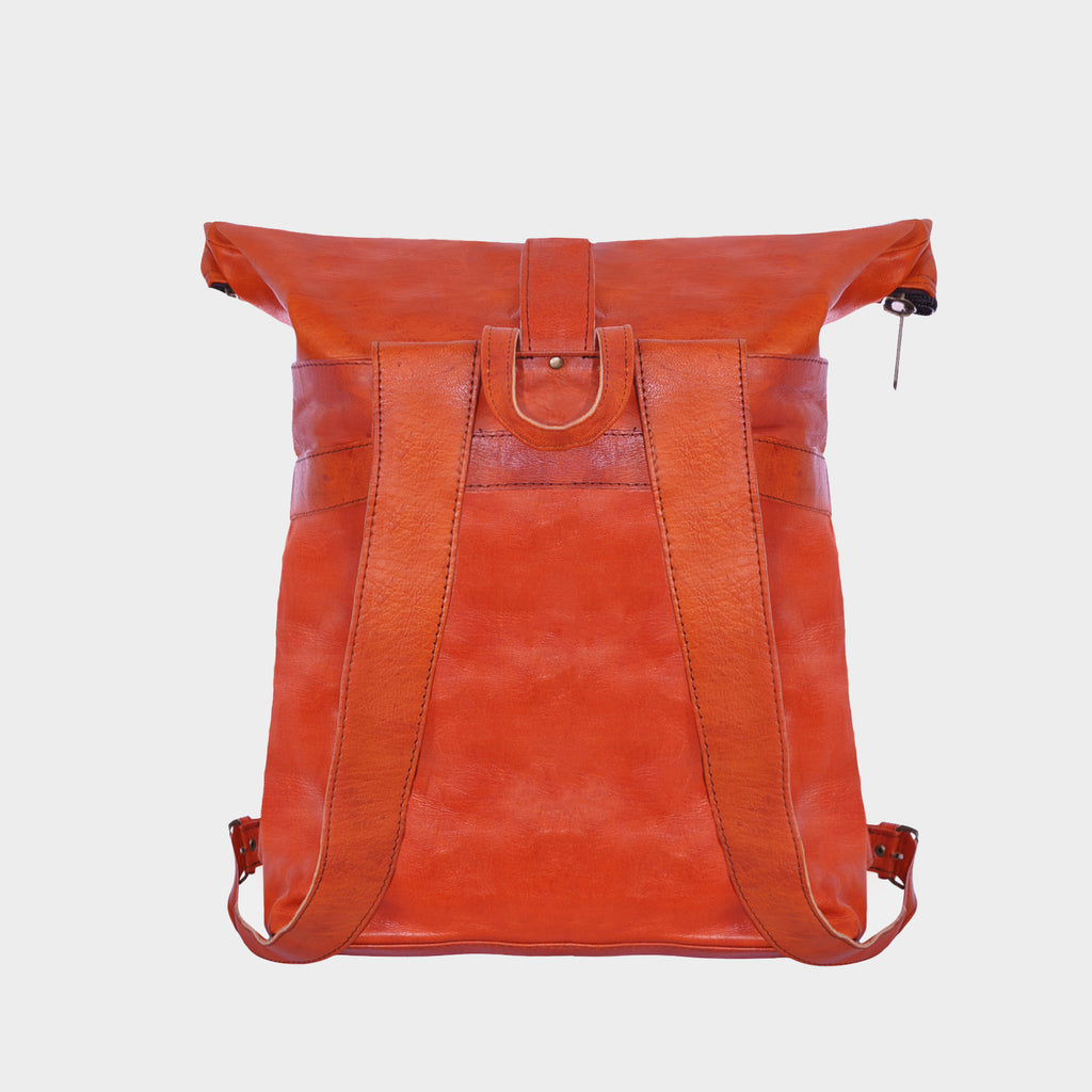Leather Cross Roll Top Backpack