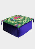 Alhambra Floral Purple-Green Large Velvet Moroccan Pouf Set