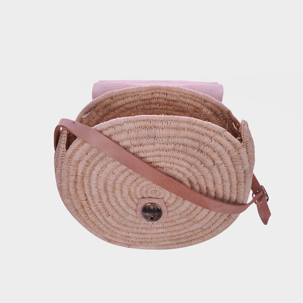 "10.5"" Round Wicker Straw Bag"