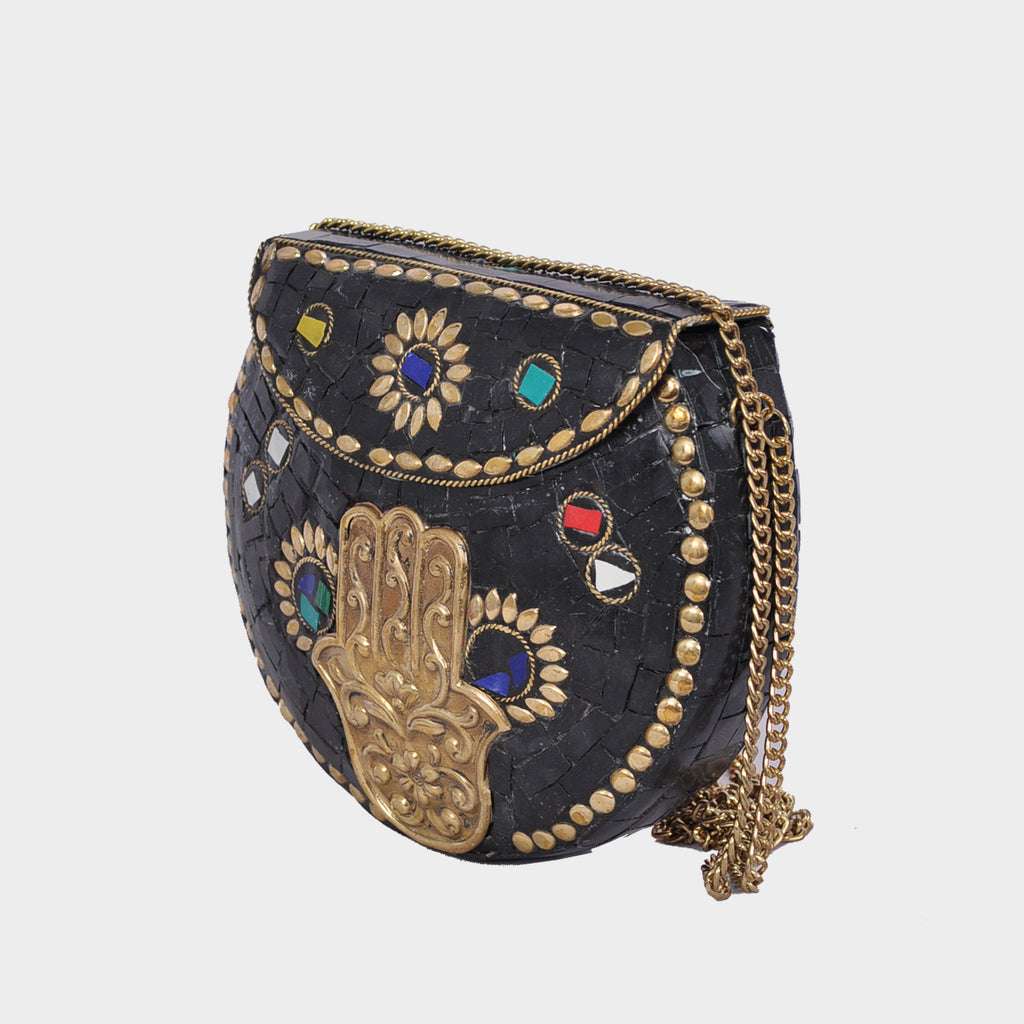 Mosaica Midnight Hamsa Mosaic Crossbody Clutch