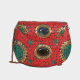 Mosaica Mystic Red Mosaic Crossbody Clutch
