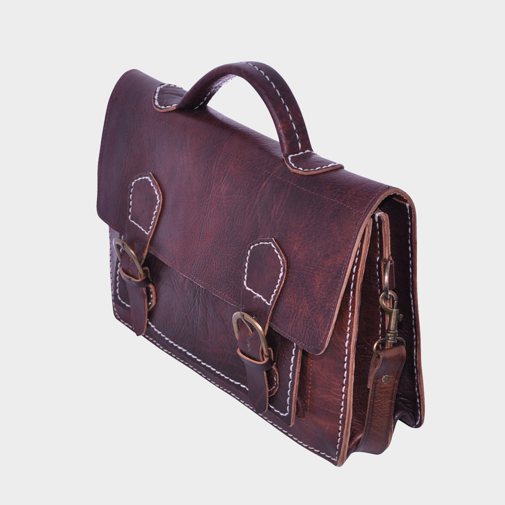 Vintage Double Buckle Briefcase