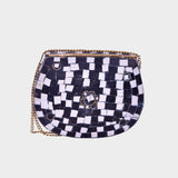 Mosaica Black & White Stone Covered Crossbody Clutch