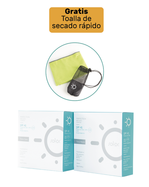 Kit / Compra 2 Solor perfection y te regalamos una toalla de secado rápido