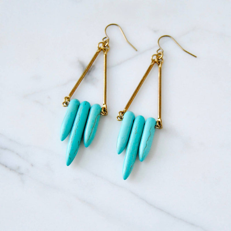 Mini Turquoise Shield Earrings