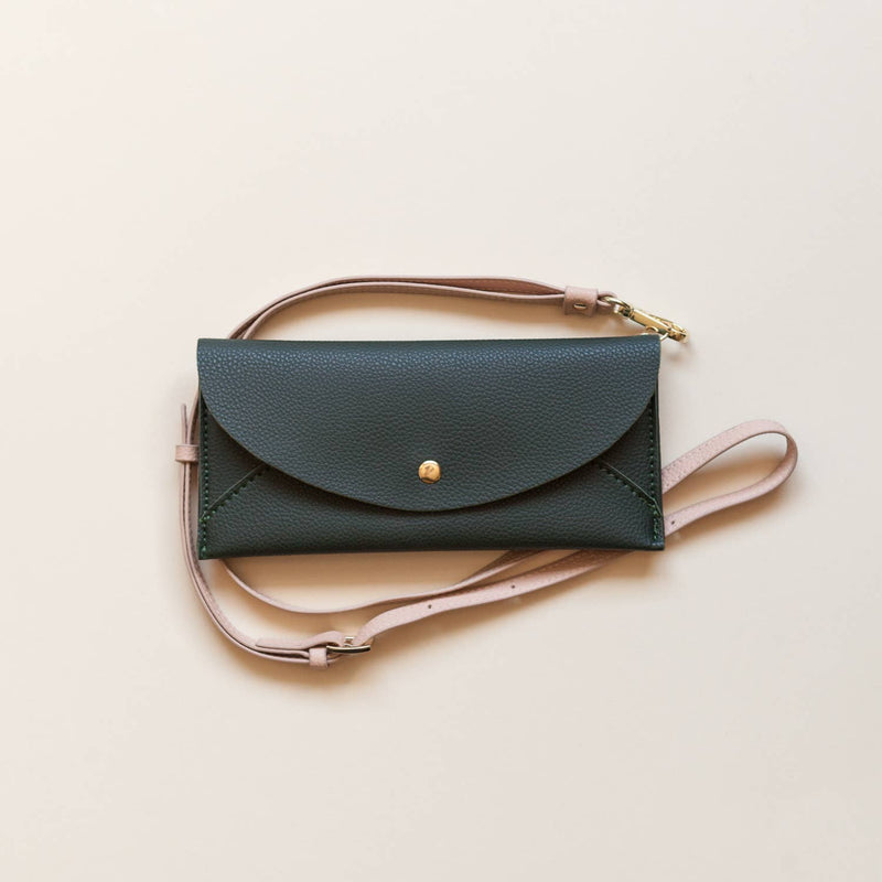 Lark & Ives Envelope Crossbody Hunter Green Vegan Bag