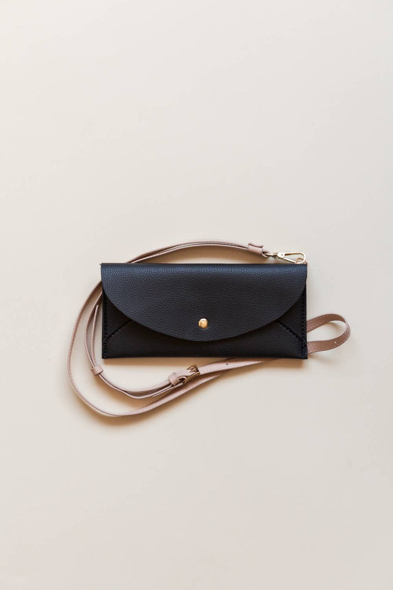 Lark & Ives Envelope Crossbody Black Vegan Bag
