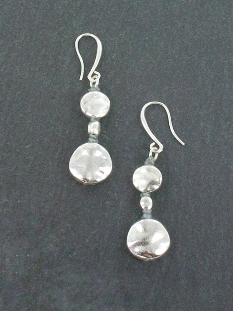 Double Beaten Disc Earrings In Silver Plate