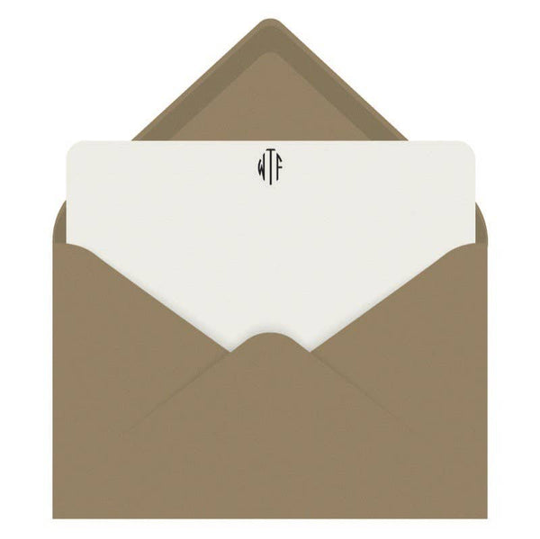 Note Cards Letterpress WTF Monogram - Boxed Set of 8