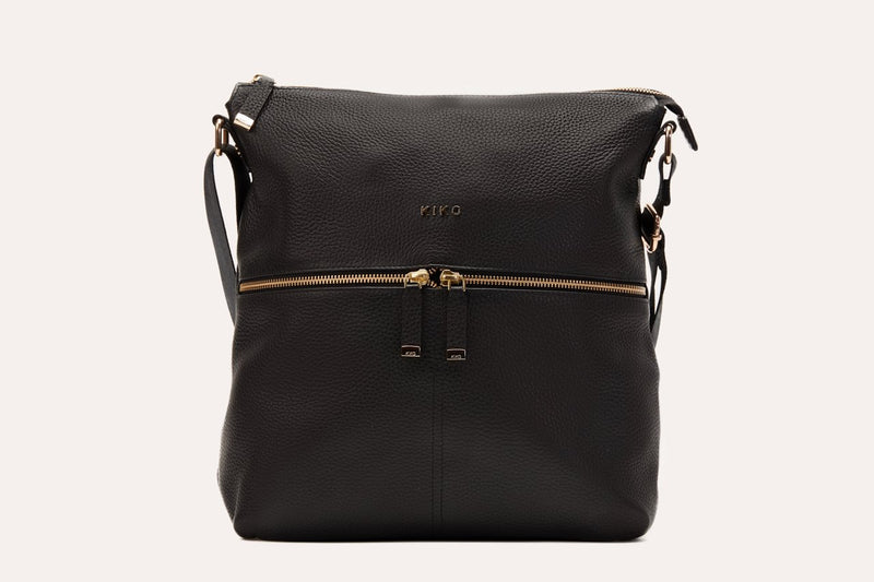 Kiko Adjustable Strap Leather Zip Tote
