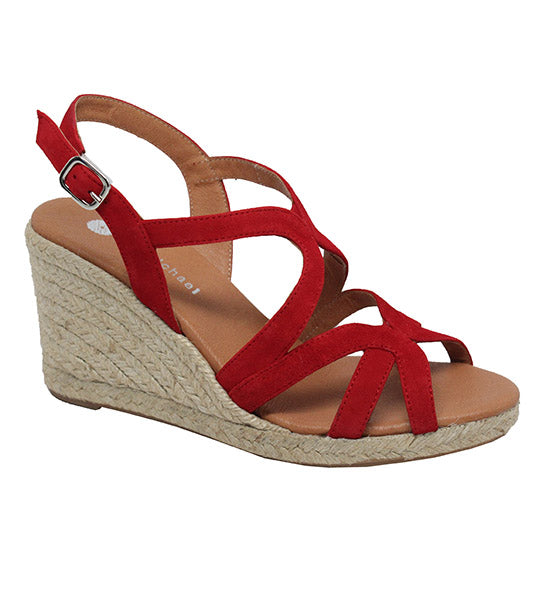 Eric Michael Linsey Red Espadrille Heel Sandal