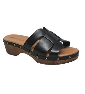 Eric Michael Nah Wood Bottom Clog Slide Sandal