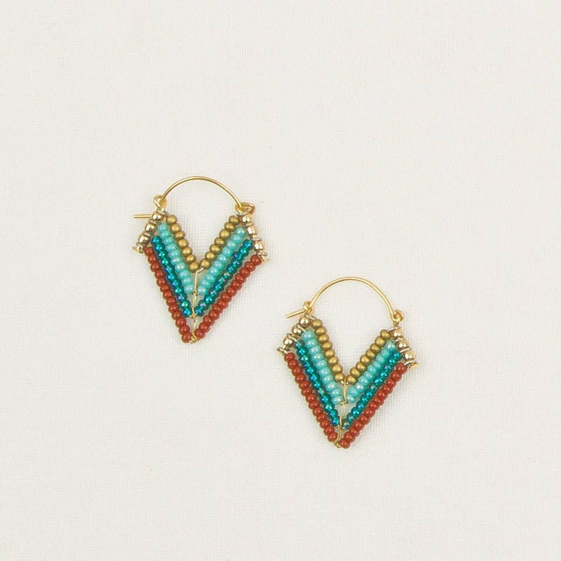 Chevron Bead Hoop Earrings