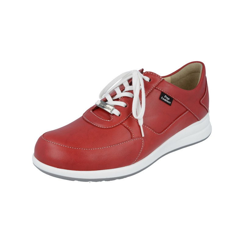 Finn Comfort Corato Red Leather Walking Shoe
