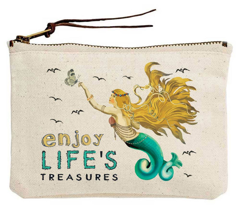 Enjoy Life's Treasures Mermaid Canvas Pouch
