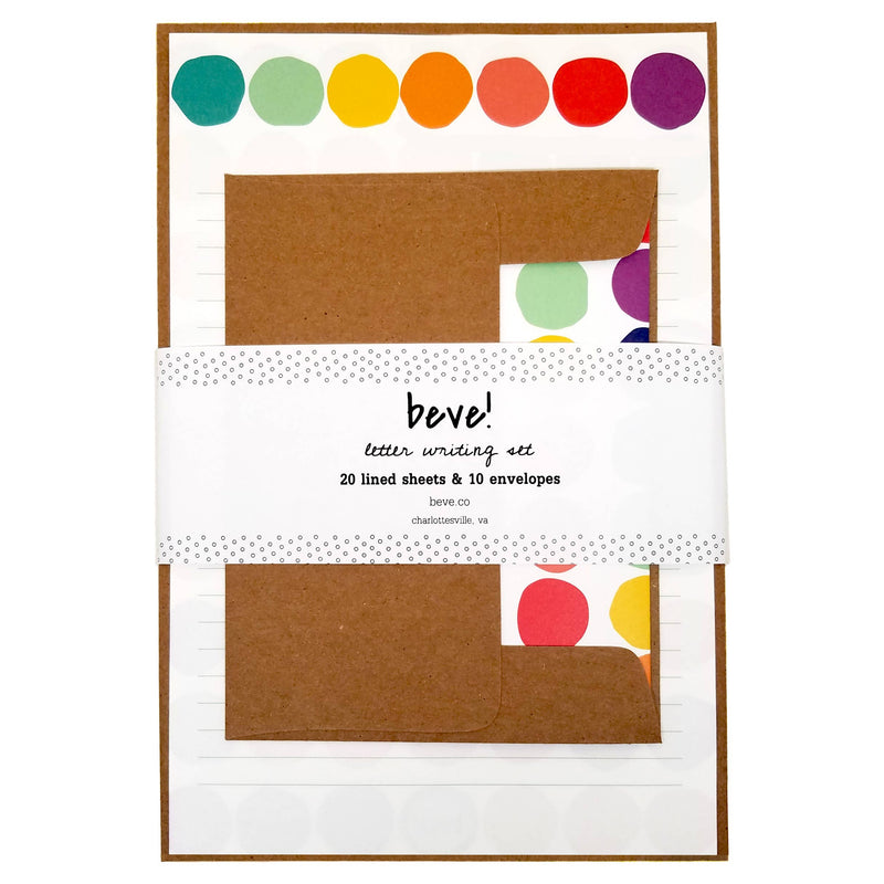 Rainbow Dot Letter Writing Set