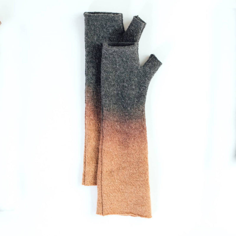 Mod Long Fingerless Gloves Dip Dye