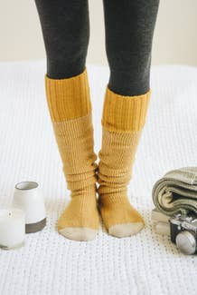 Two-Tone Knee High Lounge Socks