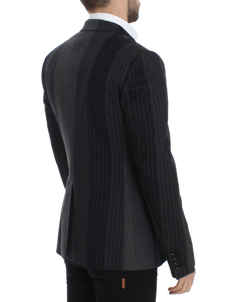 Gray striped wool stretch blazer