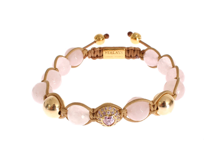 Rose Quartz CZ Heart Gold 925 Silver Bracelet