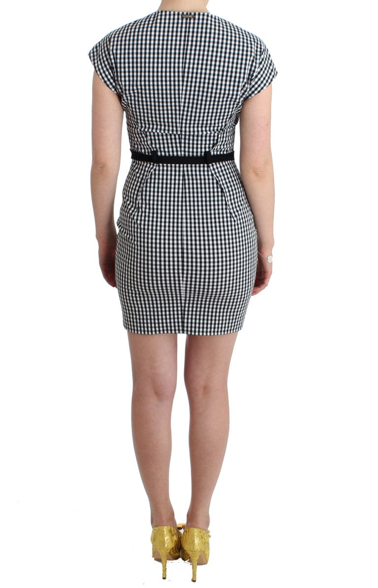 Black White Checkered Belted Sheath Dress