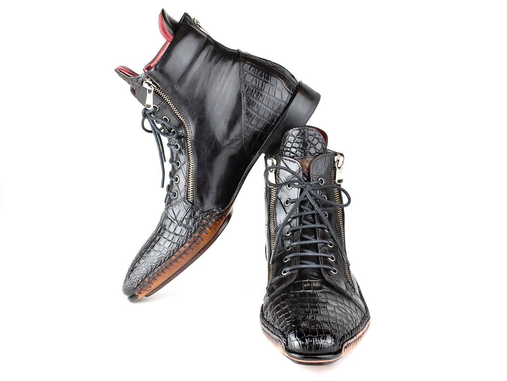 Paul Parkman Black Genuine Crocodile & Calfskin Handmade Zipper Boots (ID#95CPK54)