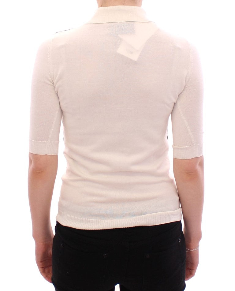 White Shortsleeve Cotton Polo T-shirt