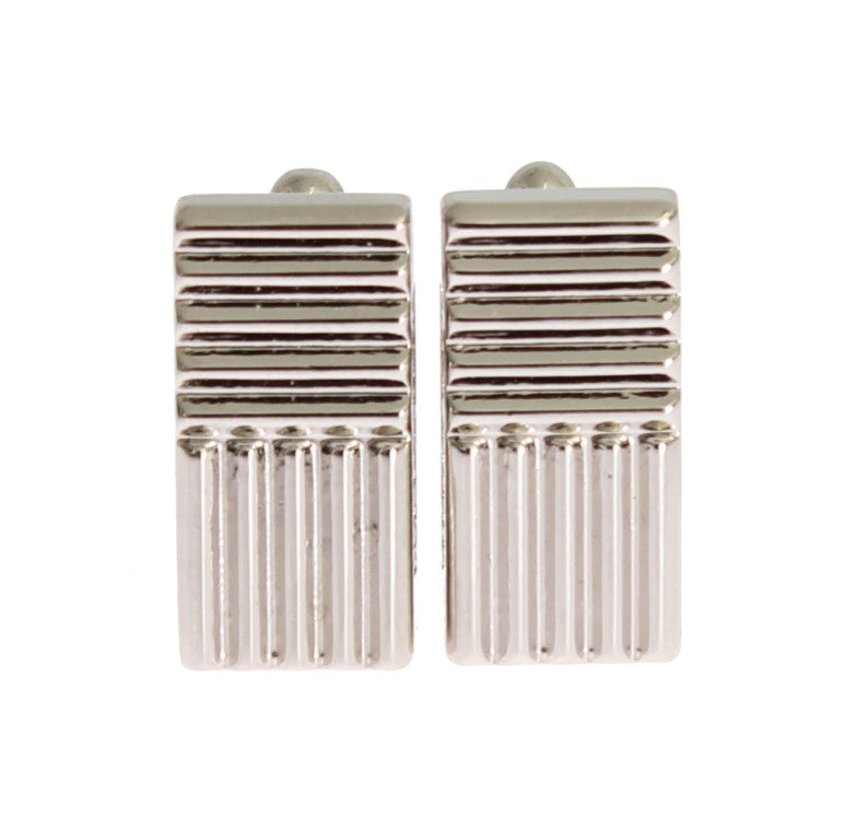 Silver Brass Rectangle Cufflinks
