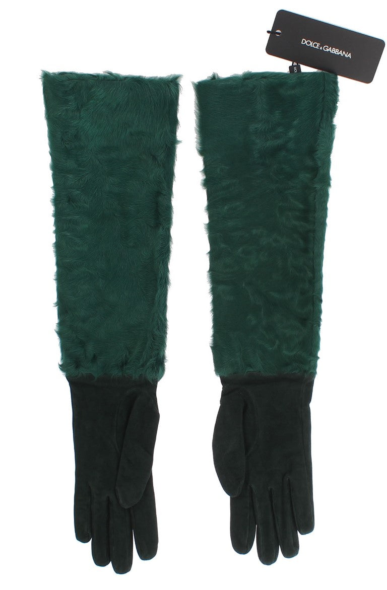 Green Leather Xiangao Fur Elbow Gloves