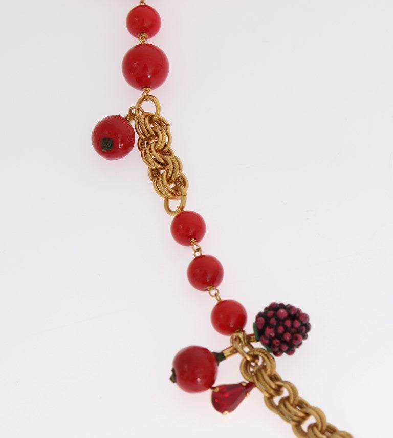 Gold Red Apple Fruit Crystal Charms Necklace