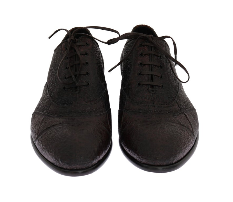 Brown Frog Skin Leather Derby Shoes