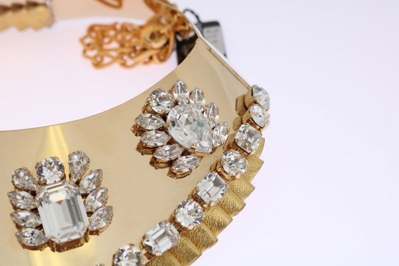 Gold Clear Crystal Embellished Necklace Collar