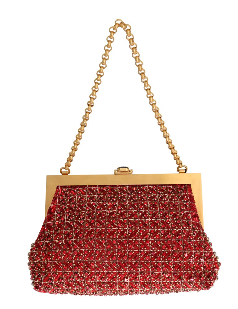 Red VANDA Crystal Sequined Gold Chain Bag
