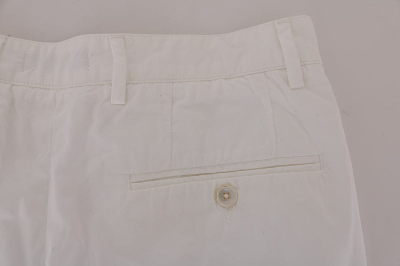 White Cotton Knee Length Shorts