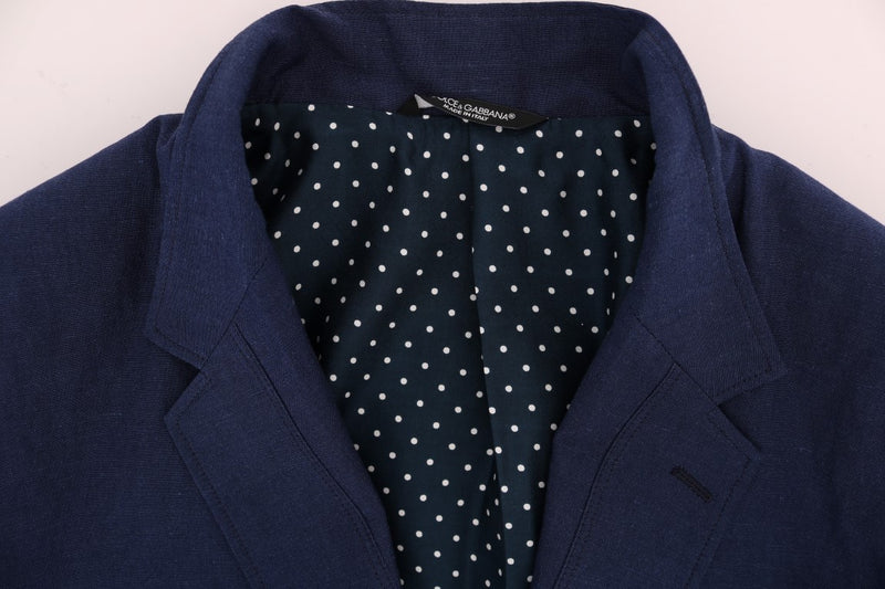Blue Cotton Linen Stretch Blazer Jacket