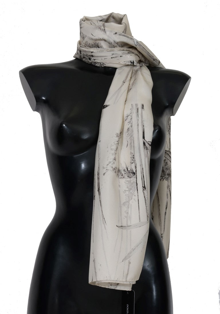 White Silk Bird Print Scarf