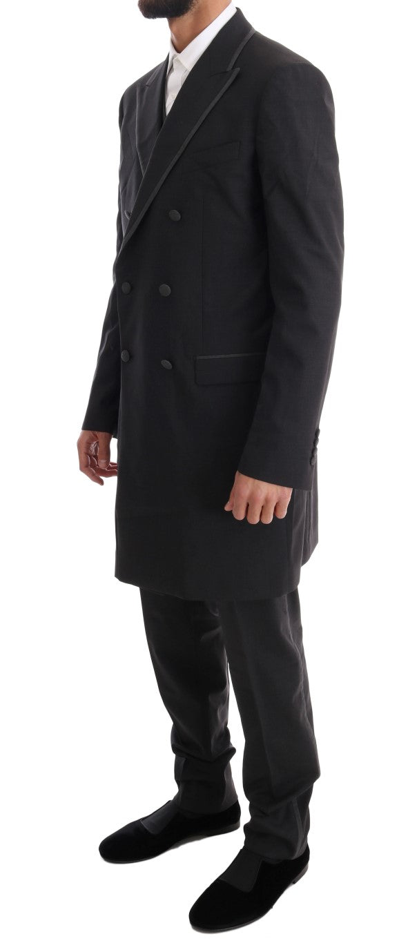 Gray Wool Stretch 3 Piece Two Button Suit
