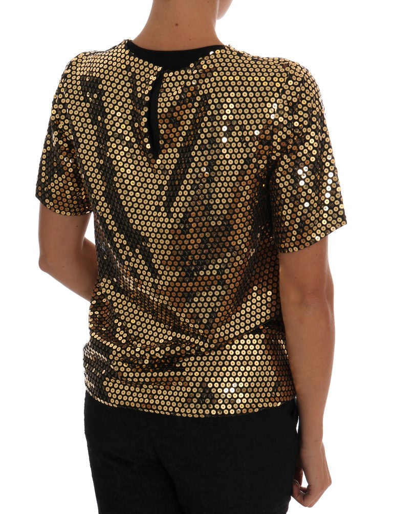 Gold Sequined Crewneck T-Shirt