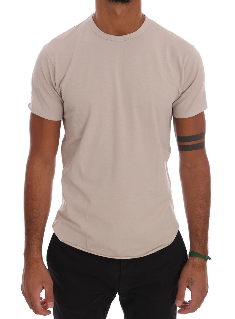 Beige Cotton Stretch Crew-neck T-Shirt