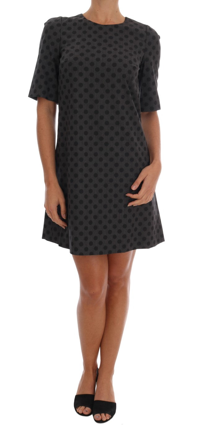 Gray Polka Dotted Wool Stretch Dress