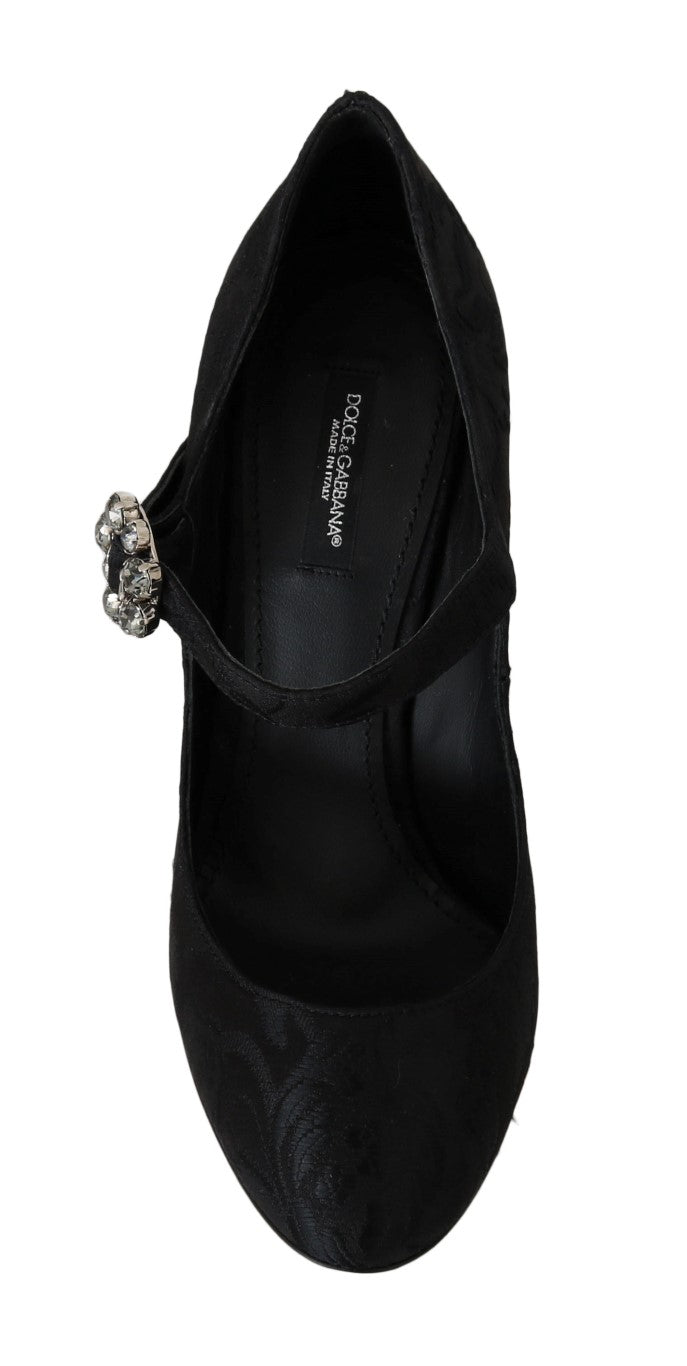 Black Brocade Crystal Mary Janes Shoes