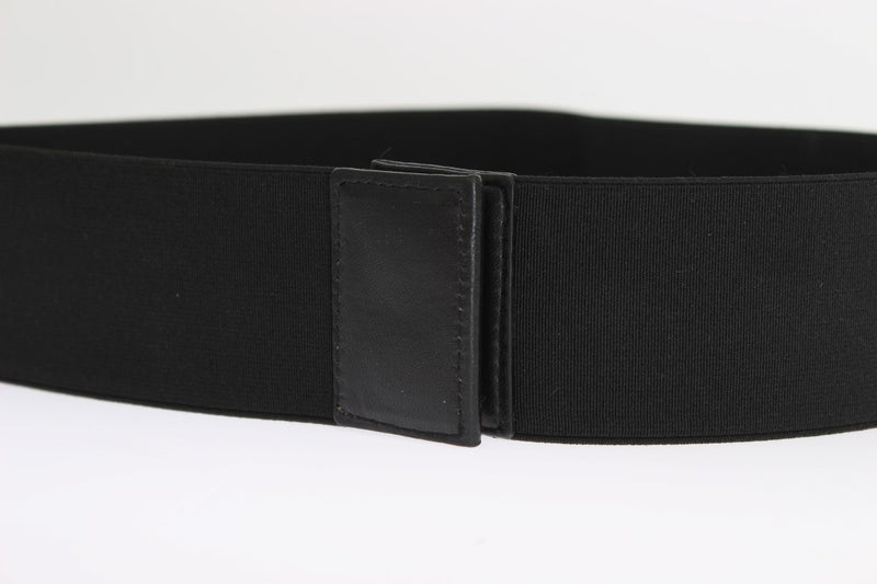 Black Stretch Leather Waist Belt