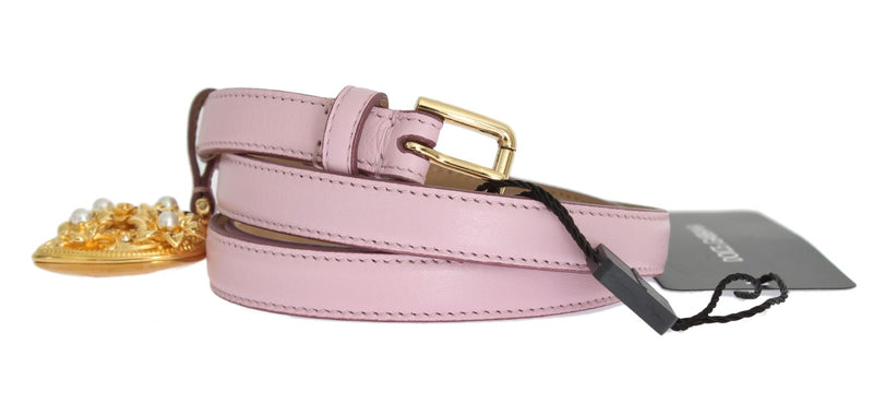 Pink Leather Gold Heart MAMMA Belt