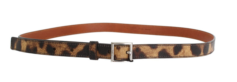 Brown Leopard Silver Buckle Belt