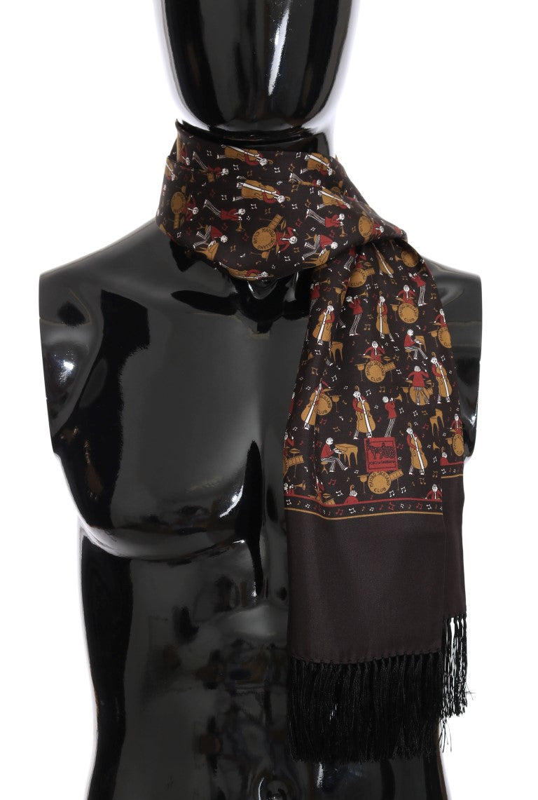 Brown Silk Music Print Scarf